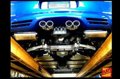custom muffler on performance vehicle in Denver